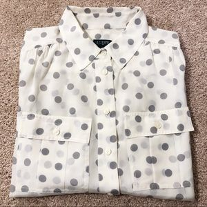 JCrew cream and gray Polk dotted blouse